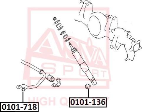 ASVA 0101-718 - Saylentblok, riteņa balstiekārtas sviras autodraugiem.lv