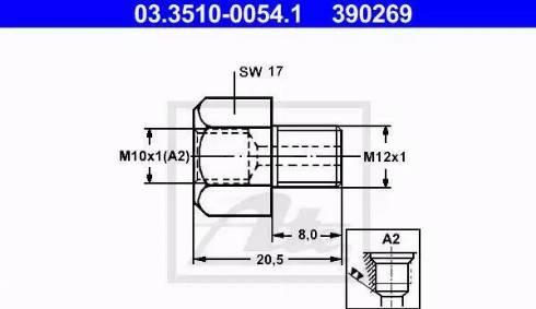 ATE 03.3510-0054.1 - Adapteris, Bremžu cauruļvadi autodraugiem.lv