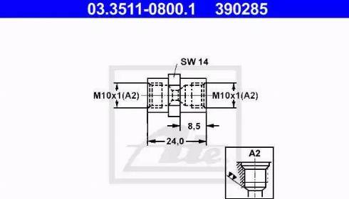 ATE 03.3511-0800.1 - Adapteris, Bremžu cauruļvadi autodraugiem.lv