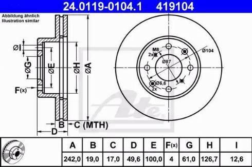 ATE 24.0119-0104.1 - Bremžu diski autodraugiem.lv