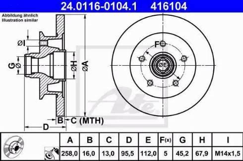 ATE 24.0116-0104.1 - Bremžu diski autodraugiem.lv