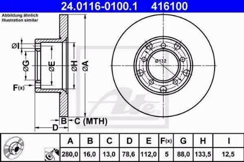 ATE 24.0116-0100.1 - Bremžu diski autodraugiem.lv