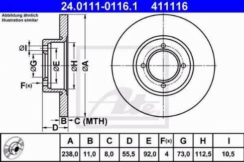 ATE 24.0111-0116.1 - Bremžu diski autodraugiem.lv