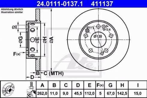 ATE 24.0111-0137.1 - Bremžu diski autodraugiem.lv