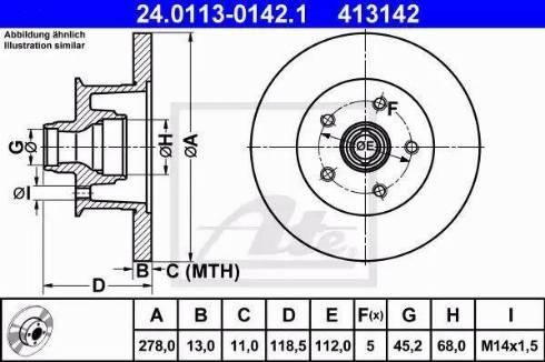 ATE 24.0113-0142.1 - Bremžu diski autodraugiem.lv
