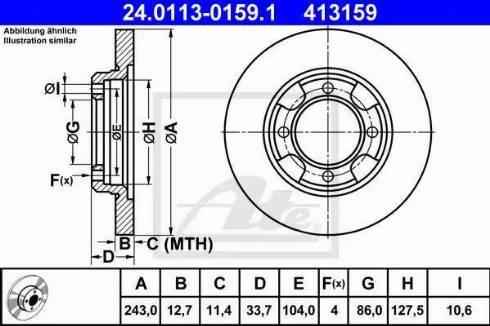 ATE 24.0113-0159.1 - Bremžu diski autodraugiem.lv