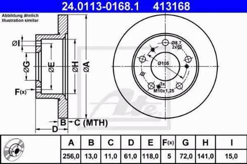 ATE 24.0113-0168.1 - Bremžu diski autodraugiem.lv