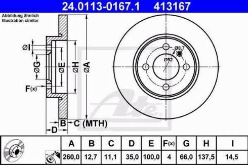 ATE 24.0113-0167.1 - Bremžu diski autodraugiem.lv
