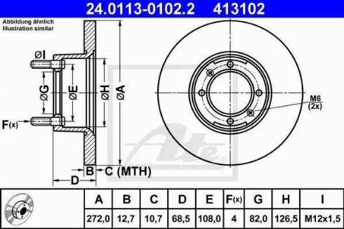 ATE 24.0113-0102.2 - Bremžu diski autodraugiem.lv