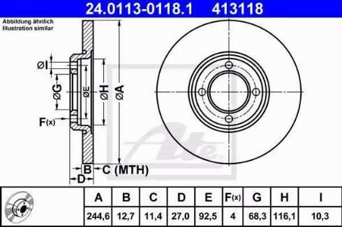 ATE 24.0113-0118.1 - Bremžu diski autodraugiem.lv