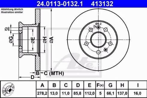 ATE 24.0113-0132.1 - Bremžu diski autodraugiem.lv