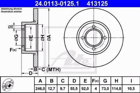 ATE 24.0113-0125.1 - Bremžu diski autodraugiem.lv