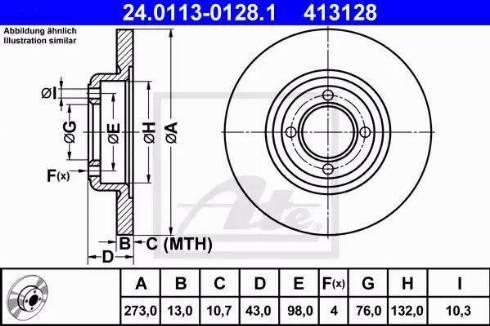 ATE 24.0113-0128.1 - Bremžu diski autodraugiem.lv