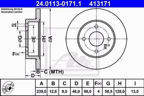 ATE 24.0113-0171.1 - Bremžu diski autodraugiem.lv