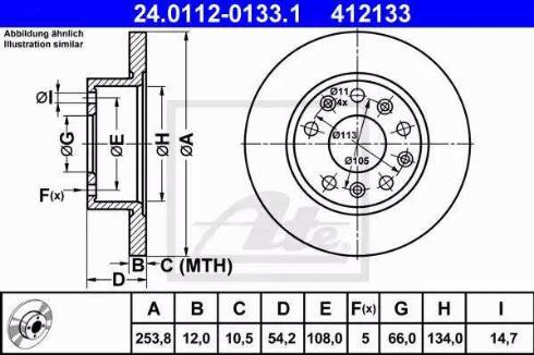 ATE 24.0112-0133.1 - Bremžu diski autodraugiem.lv