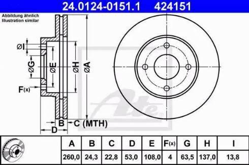 ATE 24.0124-0151.1 - Bremžu diski autodraugiem.lv