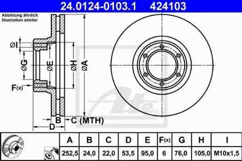 ATE 24.0124-0103.1 - Bremžu diski autodraugiem.lv