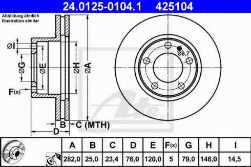 ATE 24.0125-0104.1 - Bremžu diski autodraugiem.lv