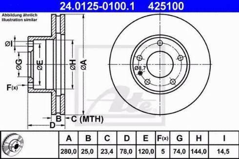 ATE 24.0125-0100.1 - Bremžu diski autodraugiem.lv