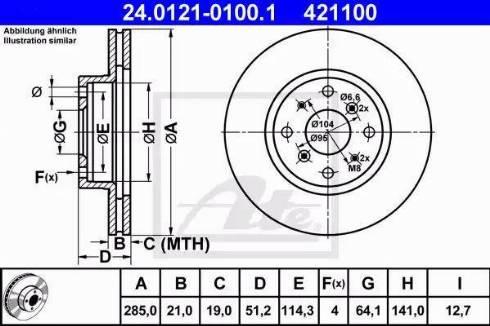 ATE 24.0121-0100.1 - Bremžu diski autodraugiem.lv