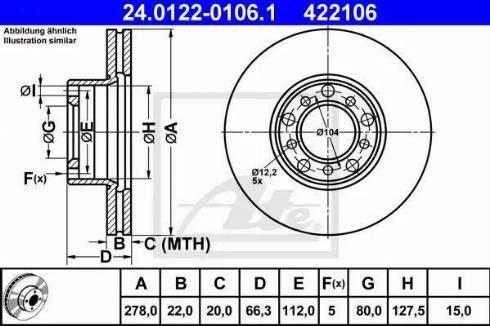 ATE 24.0122-0106.1 - Bremžu diski autodraugiem.lv