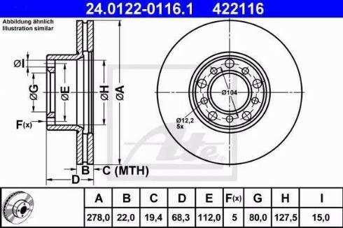 ATE 24.0122-0116.1 - Bremžu diski autodraugiem.lv