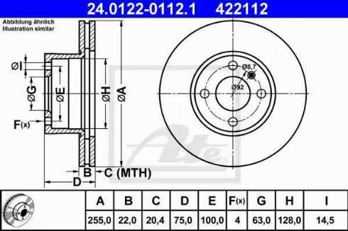 ATE 24.0122-0112.1 - Bremžu diski autodraugiem.lv