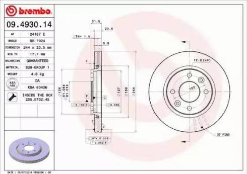Brembo 09.4930.14 - Bremžu diski autodraugiem.lv