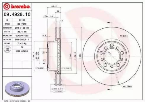 Brembo 09.4928.10 - Bremžu diski autodraugiem.lv