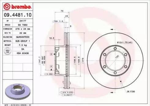Brembo 09.4481.10 - Bremžu diski autodraugiem.lv