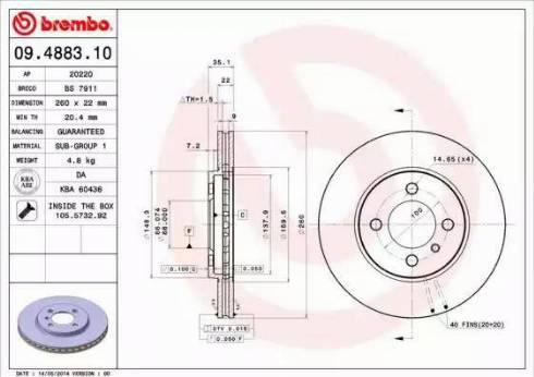 Brembo 09.4883.10 - Bremžu diski autodraugiem.lv