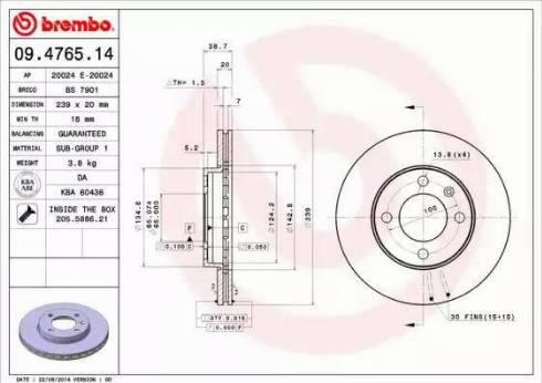 Brembo 09.4765.14 - Bremžu diski autodraugiem.lv