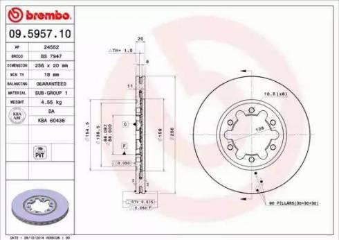 Brembo 09.5957.10 - Bremžu diski autodraugiem.lv