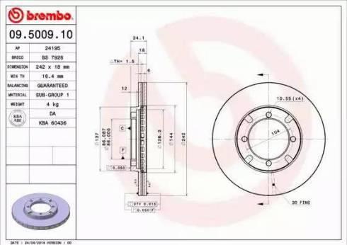 Brembo 09.5009.10 - Bremžu diski autodraugiem.lv