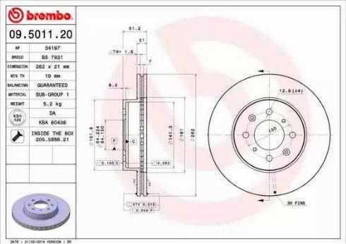Brembo 09.5011.20 - Bremžu diski autodraugiem.lv