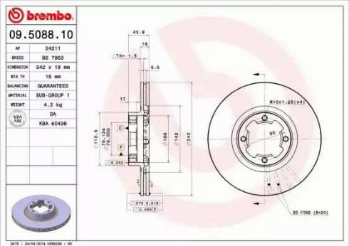 Brembo 09.5088.10 - Bremžu diski autodraugiem.lv
