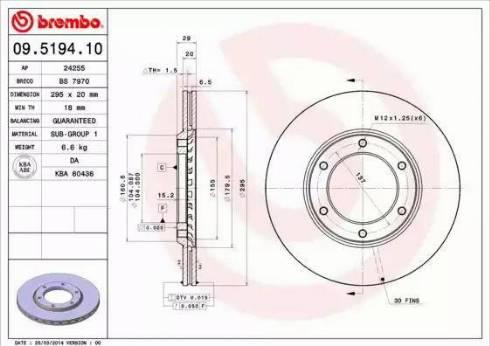 Brembo 09.5194.10 - Bremžu diski autodraugiem.lv