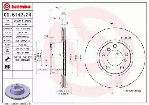 Brembo 09.5142.24 - Bremžu diski autodraugiem.lv