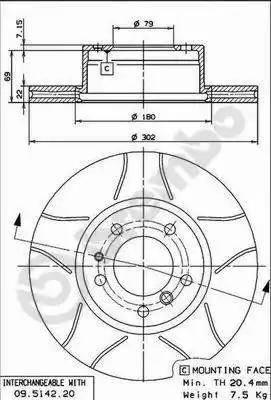 Brembo 09.5142.76 - Bremžu diski autodraugiem.lv