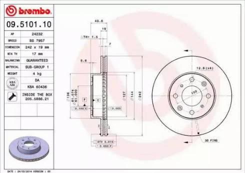 Brembo 09.5101.10 - Bremžu diski autodraugiem.lv