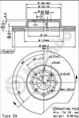 Brembo 09.5124.10 - Bremžu diski autodraugiem.lv