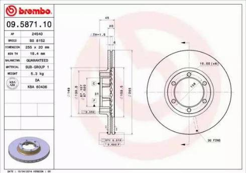 Brembo 09.5871.10 - Bremžu diski autodraugiem.lv