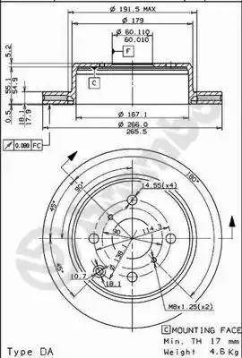 Brembo 09.5706.10 - Bremžu diski autodraugiem.lv