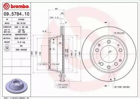 Brembo 09.5784.10 - Bremžu diski autodraugiem.lv