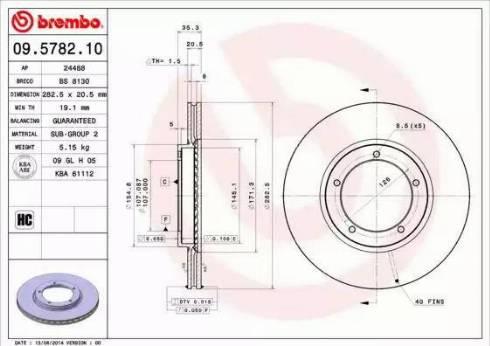 Brembo 09.5782.10 - Bremžu diski autodraugiem.lv