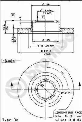 Brembo 09.5735.10 - Bremžu diski autodraugiem.lv