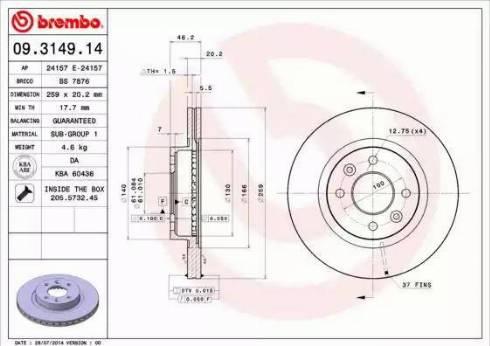 Brembo 09.3149.14 - Bremžu diski autodraugiem.lv