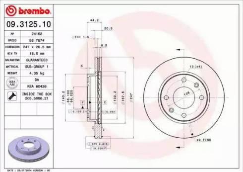 Brembo 09.3125.10 - Bremžu diski autodraugiem.lv