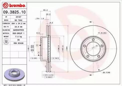 Brembo 09.3825.10 - Bremžu diski autodraugiem.lv