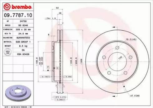 Brembo 09.7787.10 - Bremžu diski autodraugiem.lv